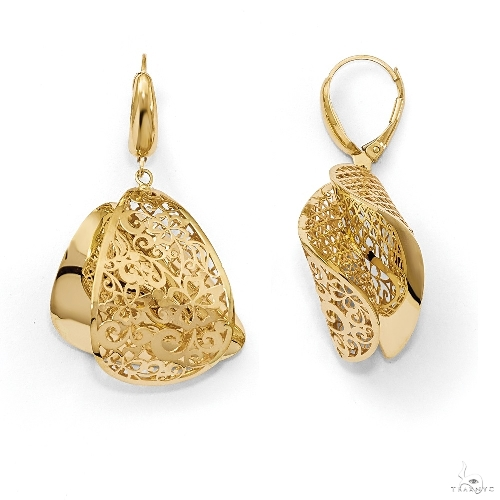 Polished Filigree Twist Fine Fashion Earrings 14k Yellow Gold Metal