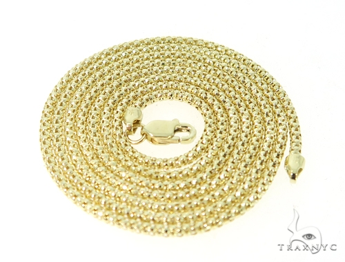 Popcorn 10k Yellow Gold Chain  24 Inches 2mm 3.8 Grams 49016 Gold