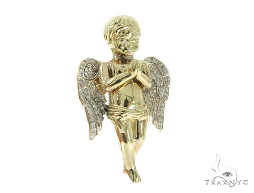 Large Praying Angel Diamond Pendant 49601 Metal