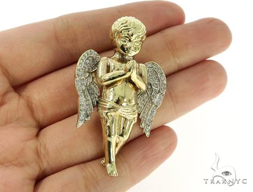 Large Praying Angel Diamond Pendant 49601 Metal