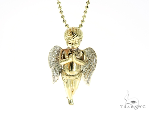Large Praying Angel Diamond Pendant and Moon Cut Chain Set Metal
