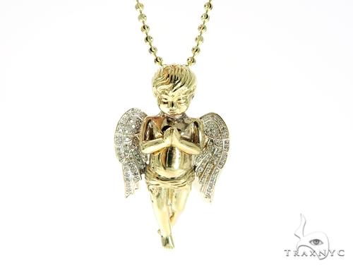 Large Praying Angel Diamond Pendant and Moon Cut Chain Set Metal