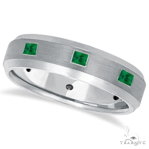 Princess-Cut Emerald Ring for Men Wedding Band 14k White Gold Stone