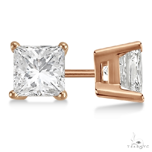 Princess Diamond Stud Earrings 18kt Rose Gold G-H, VS2-SI1 Stone