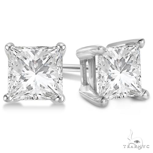 Princess Diamond Stud Earrings 18kt White Gold G-H, VS2-SI1 Stone