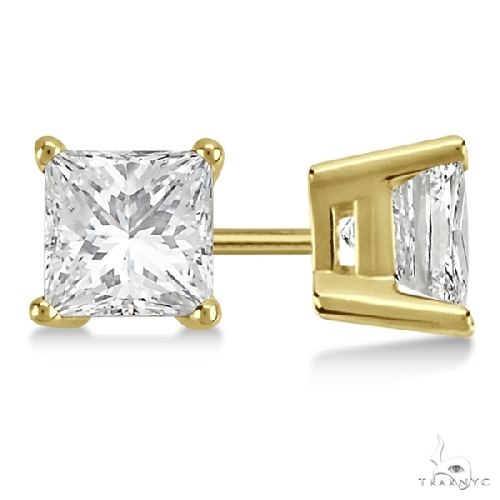 Princess Diamond Stud Earrings 18kt Yellow Gold G-H, VS2-SI1 Stone