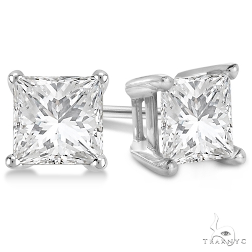 Princess Diamond Stud Earrings Platinum G-H, VS2-SI1 Stone