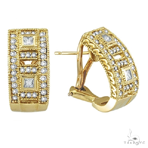 Princess and Round Diamond Huggie Earrings 18K Yellow Gold Stone