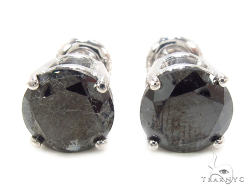 Prong Black Diamond Earrings 36009 Stone