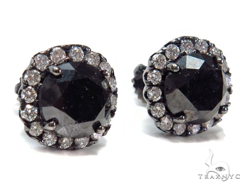 Prong Black Diamond Earrings 41185 Stone
