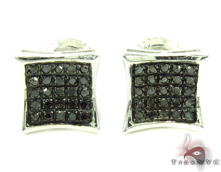 Prong Black Diamond Silver Earrings 31189 Metal