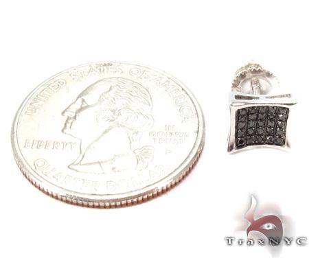 Prong Black Diamond Silver Earrings 31189 Metal