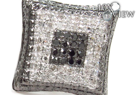 Prong Black and White Diamond Earrings 31683 Stone