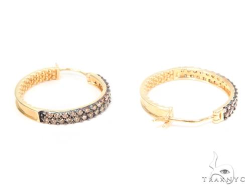 Prong Champagne Diamond Hoop Earrings 44490 Stone