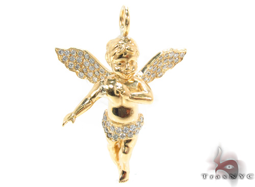 18k gold prong diamond angel pendant 34693 aloadofball