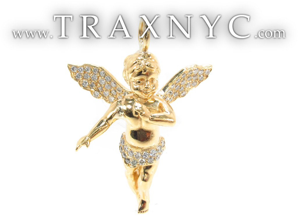 18k gold prong diamond angel pendant 34693