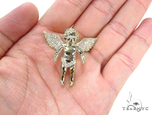Prong Diamond Angel Pendant 36386 Metal