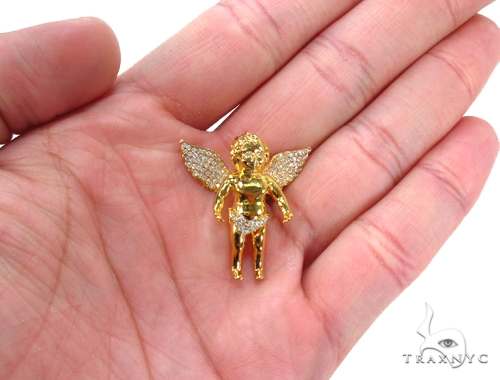 Small Prong Diamond Angel Pendant 35222 Metal