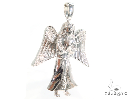 Prong Diamond Angel Pendant 45181 Metal