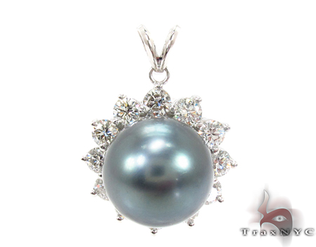 Prong Diamond Black Pearl Pendant 32066 Pearl Diamond Pendants