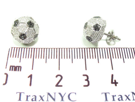 Prong Diamond Black and White Football Earrings 32692 Stone