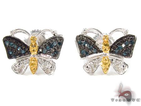 Prong Diamond Butterfly Silver Earrings 31149 Sterling Silver Earrings for Women