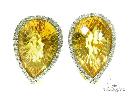 Pear cut Citrine & Prong Diamond Earrings 39268 Stone