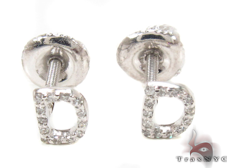 Prong Diamond  Initial \'D\' Earrings 32630 Stone
