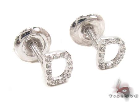Prong Diamond  Initial \'D\' Earrings 32630 Stone