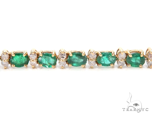 Prong Diamond Emerald Bracelet 43268 Gemstone & Pearl