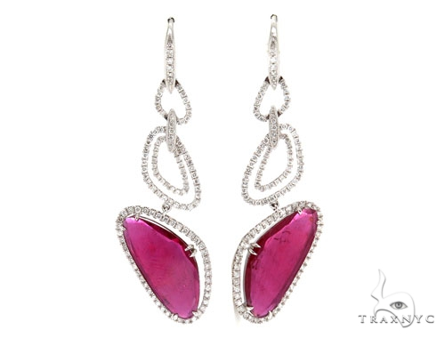 Prong Diamond Pink Ruby Earrings 42429 Stone