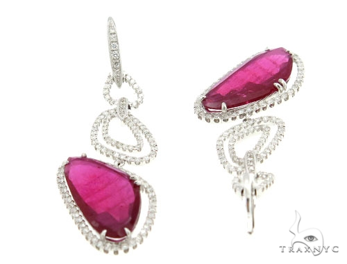Prong Diamond Pink Ruby Earrings 42429 Stone
