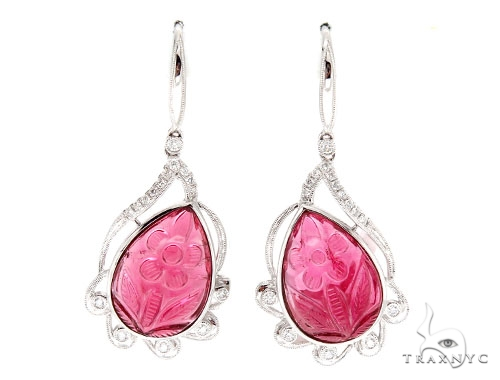 Prong Diamond Carved Pink Ruby Earrings 42430 Stone