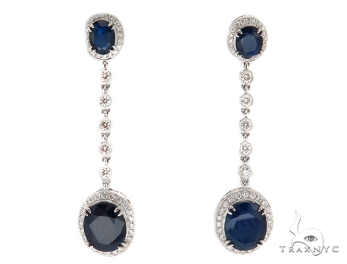 Prong Diamond & Sapphire Earrings 42432 Stone