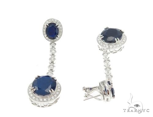 Prong Diamond & Sapphire Earrings 42432 Stone