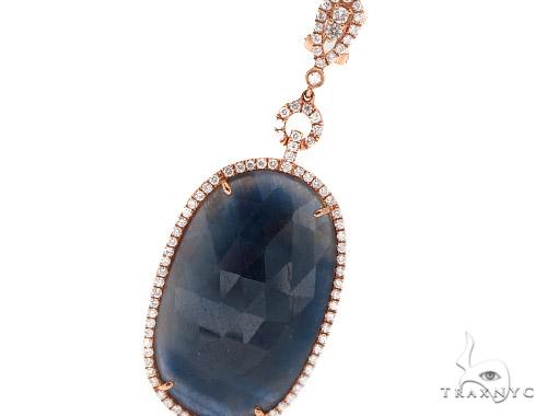 Prong Diamond & Sapphire Earrings 42434 Stone