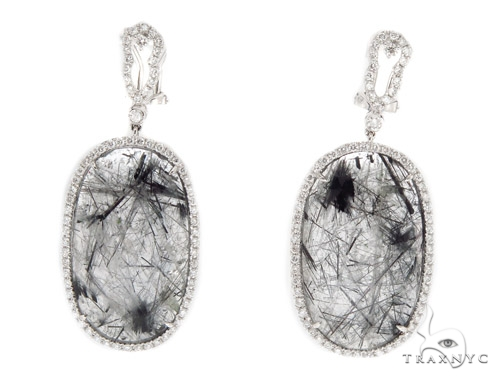 Prong Diamond & Tourmalated Quartz Earrings 42435 Stone
