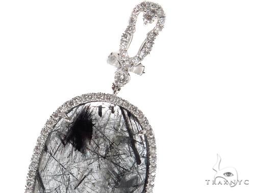 Prong Diamond & Tourmalated Quartz Earrings 42435 Stone