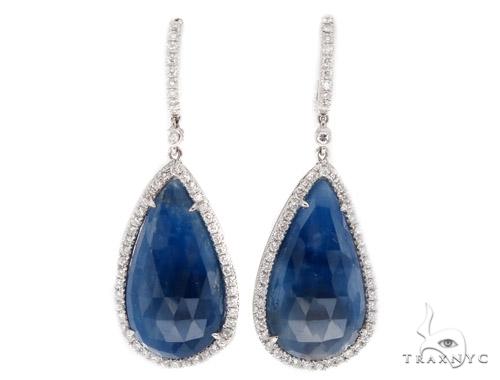 Prong Diamond Sapphire Earrings 42439 Stone