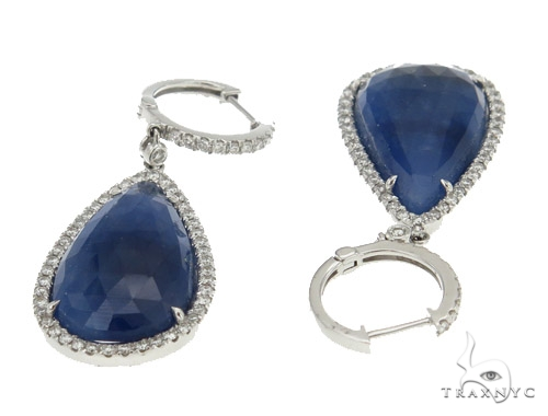 Prong Diamond Sapphire Earrings 42439 Stone