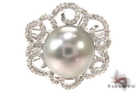 Prong Diamond Gray Pearl Ring 32034 真珠 ダイヤモンド リング