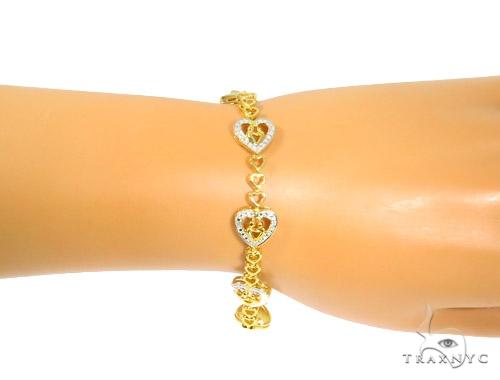 Prong Diamond Heart Bracelet 44314 Silver & Stainless Steel