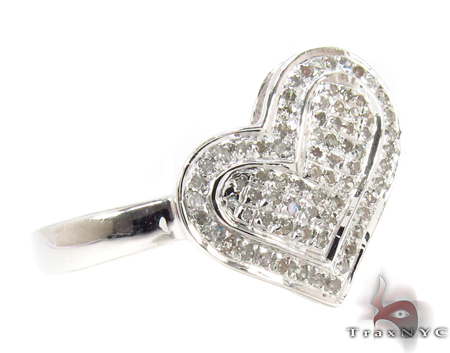 Silver Diamond Heart Ring 32291 Anniversary/Fashion