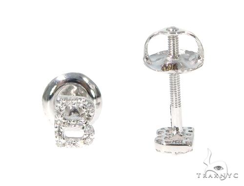 Prong Diamond Initial 'B' Earrings 32631 Stone