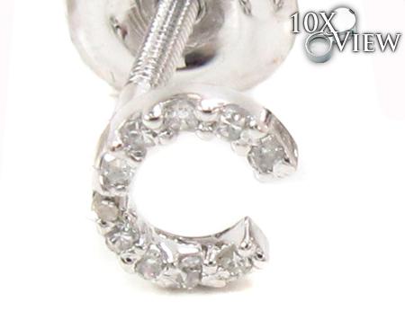 Prong Diamond Initial \'C\' Earrings 32632 Stone