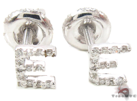 Prong Diamond Initial 'E' Earrings 32633 Stone