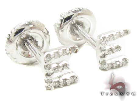 Prong Diamond Initial \'E\' Earrings 32633 Stone