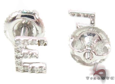 Prong Diamond Initial 'E' Earrings 32633 Stone