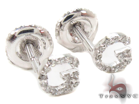Prong Diamond Initial 'G' Earrings 32635 Stone