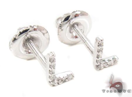 Prong Diamond Initial \'L\' Earrings 32646 Stone
